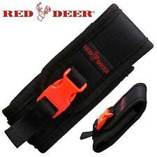 "Orange & Black Nylon Folding Knife Pouch Sheath Flashlight Multi-tool 3 to 5"""