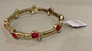 Lia Sophia Matte Gold Stretch Bracelet w/ Pink, Orange Gold & Clear Crystals-New