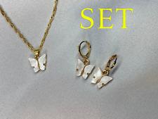 Cute Pearl White Butterfly Choker/Chain & Earring Set, 18K GP FAST FREE SHIPPING