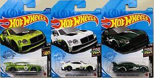 hot wheels 2018 Bentley Continental GT3 Lot Of 3 Light Dark Green White 2021 New