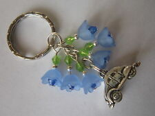 Keyring / Bag Charm - VW Beetle & Blue Lucite Bluebell Flowers