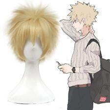 Mi héroe Academia bakugo Katsuki Juegos con disfraces Peluca Pelo Rubio Corto De Oro Hombre quisquilloso