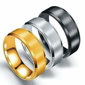 Titanium Steel Rings for Men Wedding Ring Cool Simple Band Engagement Gift 8mm