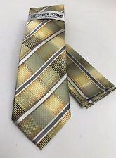 """Stacy Adams Men's Tie Hanky Set Yellow Gold Gray Beige Extra Long 63"""" Microfiber"""