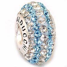 Alducchi Topaz Blue - Clear Swarovski Crystal 925  Silver European Charm Bead .