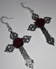Large Gothic Earrings *Silver cross*red rose*pagan*steampunk*emo*Wiccan*