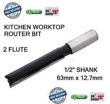 "1/2"" Shank STRAIGHT ROUTER BIT 2 FLUTE KITCHEN WORKTOP CUTTER 63mm x 12.7mm"