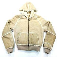 Ugg Shearling Sheepskin Leather Hoodie Bomber Jacket Women's Coat Size XS