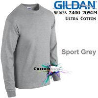 Gildan Long Sleeve T-SHIRT Sport Grey basic tee S - 5XL Men's Ultra Cotton