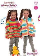 Stylecraft 8969 Knitting Pattern Girls Cardigan Sweater in Merry Go Round DK