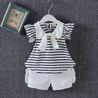 Infant Baby Girls Clothes Outfits Clothing Toddler Girl Stripe  T-shirt + pants