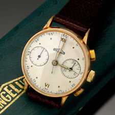 18K GOLD SQUARE BUTTON CHRONOGRAPH ANGELUS WATCH WITH BOX CA1940S