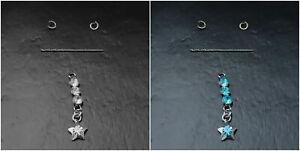 2x Nail Piercing Dangle Nagelpiercing mit Glitzer Strassstein + Stern