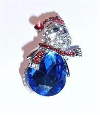 Splendido Cristallo & Diamante Pupazzo di Neve Natale Al Seno Spilla festosa