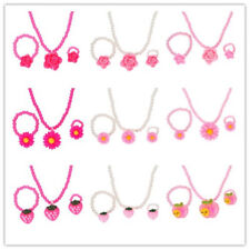 Girls Baby Kids Necklaces Bracelets Ring Simulated-Pearl Beads Kid Jewelry Sets