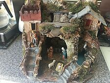 New Bertoni Complete Cork Nativity landscape with fountain Very Large