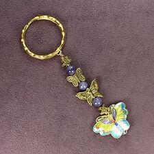 BUTTERFLY KEY RING DANGLER Chain Cloisonne Monarch Blue Purple Catseye Gold Moth