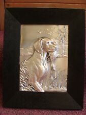 German Silver Wall Plaque 3D High Relief Hunting Dog w/Duck in Mouth HB marked!
