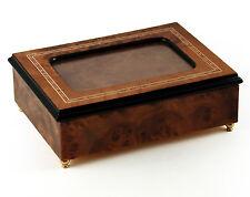 Contemporary Italian Photo Frame Music Box with Wood Border Inlay - MBA Reg $425