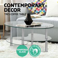 Artiss Coffee Table Oval 3 Tier Storage Display Tempered Glass Stainless Steel