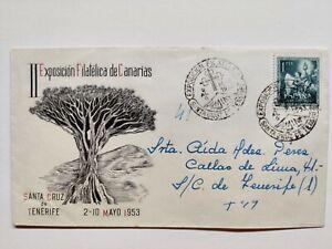 II exposición filatelica de canarias, sobre 1953 y sello posterior. Drago
