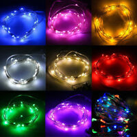 2/5/10M Operated USB LED Silver Rice Wire String Fairy Light Xmas Party Decor UK