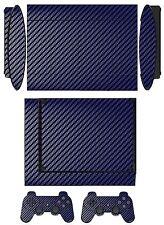 Blue Carbon Fiber Skin Sticker Cover for PS3 Super Slim and 2 controller skins