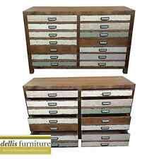 NEW - Rustic Shabby Sunny Range Elm Timber Colourful 8 Drawer Chest of Drawers
