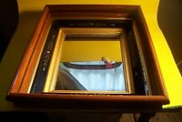 "ANTIQUE EASTLAKE SHADOW BOX MAHOGANY FRAME /MIRROR, 13 3/4"" X15 3/4"" 3 3/4""DEEP"