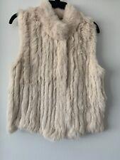 Haute Hoodie Womens Rabbit Fur Front Zip Beige Color Size Large