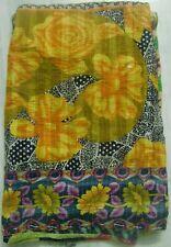 Beautiful floral print cotton quilt old sari indian kantha reversible gudari