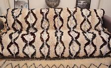 Vintage Wedding Blanket Moroccan Handira Handmade Berber Sequins Throw Rug 0428
