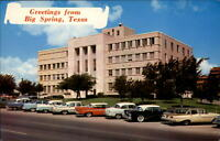 Greetings from Big Spring Texas vintage cars ~ 1950-60s postcard