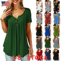 Women Short Sleeve Blouse Solid Summer T Shirt Casual Loose Tunic Top Size S-2XL