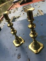 "Very Rare Pair Of Victorian Ace Of Diamonds Brass 10"" Candle Sticks Candlesticks"