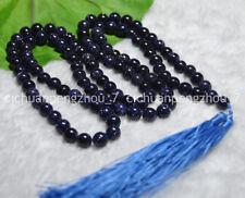 8mm Blue Sand Sun Sitar Tibet Buddhist 108 Prayer Beads Mala Necklace C2247