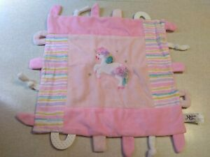 Maison Chic Baby Security Blanket Pink Unicorn Lovey Teether