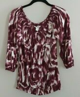 Lucky Brand Boho Tie Dyed Peasant Shirt Top Blouse Size M