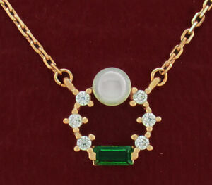 EMERALD, WHITE SAPPHIRES & GENUINE PEARL NECKLACE .925 Silver (Rose) ** NWT **