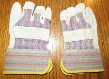Child Sz -XS Lady Garden Work Gloves Suede Leather/Stripe Fabric Decoration Doll