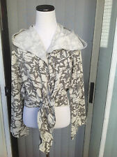 New Women's Floral White/Grey Long Sleeve Warm Yoga Hooded Top/Sweatshirt size S