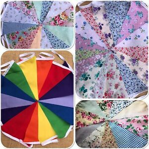 10ft/20ft. FABRIC CLEARANCE BUNTING.FLORAL SHABBY CHIC.HANDMADE.WEDDING.GARLAND.