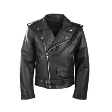 Men's Motorcycle Perfecto Brando 100% Real Fashion Leather Jacket Black Biker