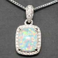 2 Ct Cushion White Australian Fire Opal Moissanite Halo Pendant Necklace