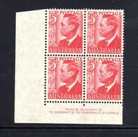 1951 KGVI - 3d SCARLET -  CORNER BLOCK of 4 with AUTHORITY  IMPRINT - MUH