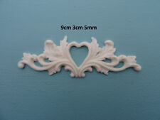 Decorative small heart on scrolls applique onlay resin furniture moulding R106