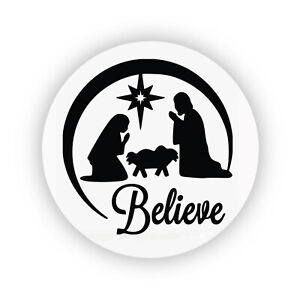 Pack of 24 paper labels, Nativity Christmas Silhouette, Self Adhesive stickers