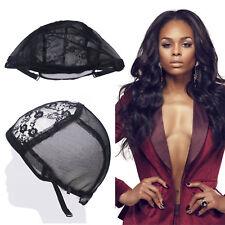 Black Breathable Lace Mesh Wig Cap Hair Net Weaving Making Adjustable Straps UK