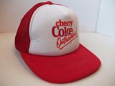 Cherry Coke Outrageous Hat Vtg Red Coca Cola Snapback Trucker Cap White Paint
