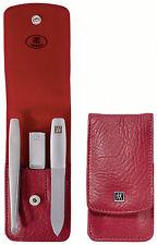 ZWILLING TWINOX manucure étui rouge de 3 pièces Cas De Poche intemporel Design